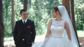 Bruddanser f?r brudgummen, ?ger rum handlingen i skogen stock video