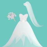 Bruden den brud- kappan, den brud- duschen, inbjudan som får den att gifta sig vita klänningen, bröllopsklänning, skyler royaltyfri illustrationer