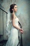 Bruden i bröllopsklänning och skyler Arkivfoton