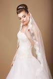 Bruden i den vita klänningen och Openwork skyler Royaltyfria Bilder