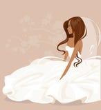 Bruden i en vit klänning också vektor för coreldrawillustration Arkivfoto