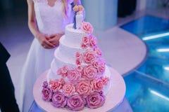 Bruden klippte en bröllopstårta Arkivfoton