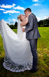 Bruden med länge skyler den kyssande brudgummen i dräkt Royaltyfri Bild