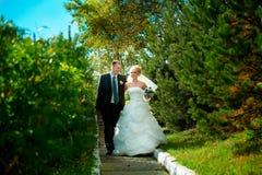 Bruden och brudgummen av gräsplan parkerar Arkivfoto
