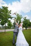Bruden och brudgummen frigör duvan Royaltyfri Bild