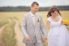Bruden och brudgummen går på naturen royaltyfri foto