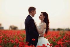 Bruden och brudgummen i ett vallmofält Royaltyfri Bild