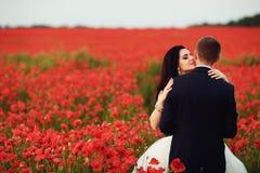 Bruden och brudgummen i ett vallmofält Arkivfoton