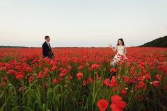 Bruden och brudgummen i ett vallmofält Arkivbild