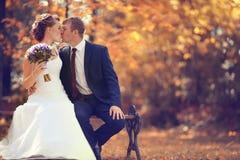 Bruden och brudgummen i höst parkerar Fotografering för Bildbyråer