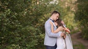 Bruden och brudgummen i skogen bruden sätter hennes huvud på skuldran för brudgum` s Brudgummen kramar hans brud Ett försiktigt arkivfilmer
