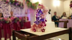 Bruden och brudgummen klippte kakan med nya blommor stock video