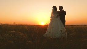 Bruden och brudgummen kramar sig på solnedgången Romantisk afton av vänner i fält bröllopsresa Mannen och kvinnan är avslappnande lager videofilmer