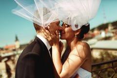 Bruden och brudgummen kysser i skuggan av ett flyg skyler ömt arkivfoton