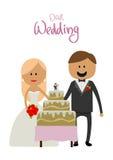 Bruden och brudgummen på bröllopet med en kaka Royaltyfri Foto