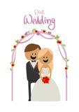 Bruden och brudgummen på ett bröllop altaret Royaltyfri Fotografi