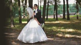 Bruden och brudgummen på ett bröllop går i parkera stock video