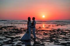 Bruden och brudgummen på solnedgången Arkivbilder