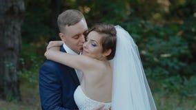 Bruden och brudgummen poserar i trät lager videofilmer
