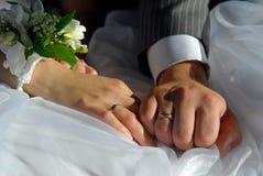 Bruden och brudgummen räcker royaltyfri bild