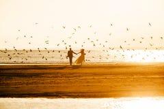 Bruden och brudgummen rider av in i solnedgången royaltyfria foton