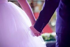 Bruden och brudgummen rymmer deras hand royaltyfri bild