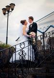 Bruden och brudgummen ser varje annan Royaltyfri Fotografi