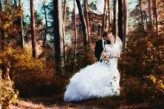 Bruden och brudgummen som in poserar, parkerar Fotografering för Bildbyråer