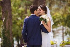 Bruden och brudgummen spenderar deras bröllopdag bara de omfamnar och kysser försiktigt och att ha gyckel som går i parkera royaltyfria bilder