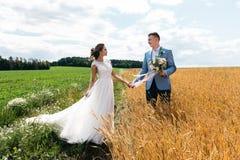 Bruden och brudgummen står i fältet som rymmer händer och ser de arkivfoton