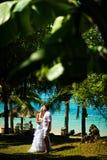 Bruden och brudgummen står i mitt av tropiska växter mot havet Stora tropiska sidor i förgrunden Royaltyfri Bild