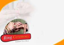 Bruden och brudgummen utbyter vigselringar royaltyfri fotografi