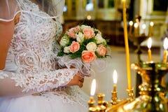 Bruden på ceremoni av bröllop Arkivbild