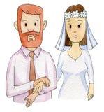 Bruden rymmer armen för brudgum` s Arkivbilder