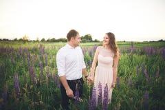 Bruden rymmer brudgummens hals, medan han kysser henne i strålarna av solnedgången Royaltyfria Bilder