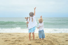 Bruder, Schwester und ihr Hund, die auf den Strand wellenartig bewegen Stockfotografie