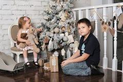 Bruder und kleine Schwester nahe bei dem Weihnachtsbaum Stockfotografie
