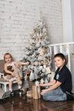 Bruder und kleine Schwester nahe bei dem Weihnachtsbaum Stockfoto