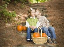 Bruder und Schwester Children auf hölzernen Schritten mit Kürbisen Whisperi Lizenzfreie Stockfotos