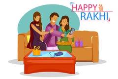 Bruder und Schwester, die Rakhi auf Raksha Bandhan binden stock abbildung