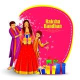 Bruder und Schwester, die verziertes Rakhi für indisches Festival Raksha Bandhan binden stock abbildung