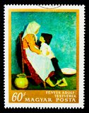 Bruder und Schwester durch Adolf Fenyes, Malereien serie, circa 1967 Lizenzfreie Stockfotografie