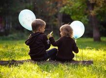 Bruder und Schwester mit den blauen Ballonen, die auf einem Baumstamm sitzen Stockbild
