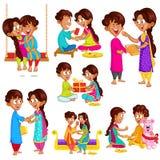Bruder und Schwester in Raksha Bandhan vektor abbildung