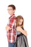 Bruder und Schwester wütend stockfotografie