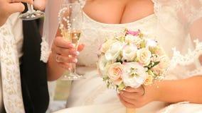 Brudgum And Bride Toast arkivfilmer