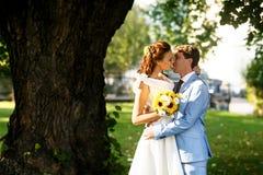 Brudgum i blåttdräkt som kysser en brud i en vit klänning under träd Arkivbilder