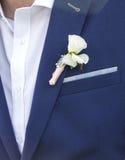 Brudgum i dräkt och brud i bröllopsklänning arkivbild
