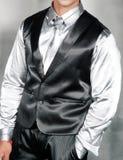 brudgum i en skjorta och en waistcoat royaltyfri bild