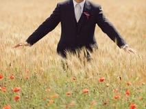 Brudgum i fält Royaltyfri Foto